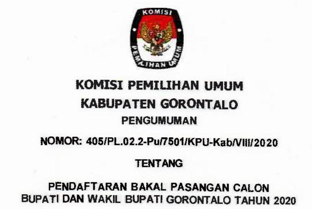 Kpu Kabupaten Gorontalo Umumkan Syarat Pendaftaran Calon